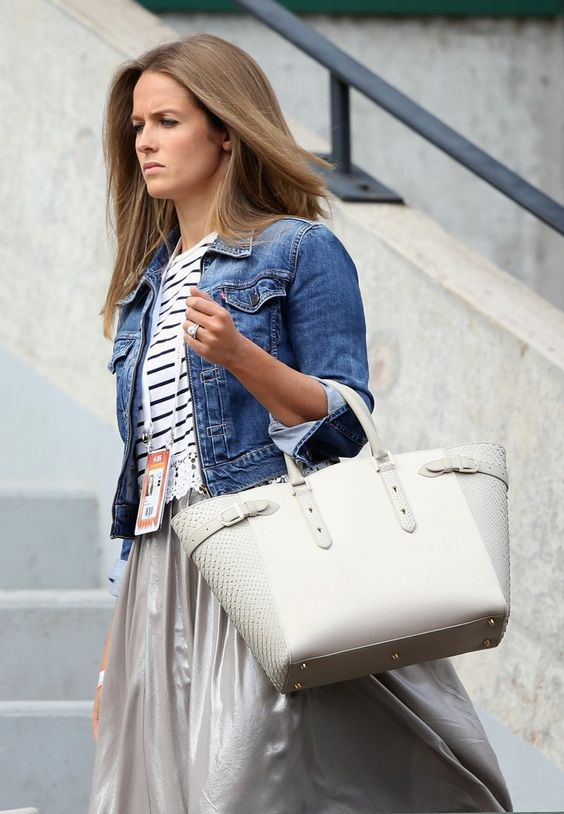 Pin for Later: Kim Murray's Going to Bring Us Some Grand-Slam Maternity Style  Kim showed off two of her trademark pieces, a denim jacket and her Aspinal of London Marylebone bag, at the 2015 French Open.