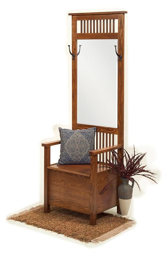 Foyer Furniture Names : Amish mission entryway storage bench with mirror trees