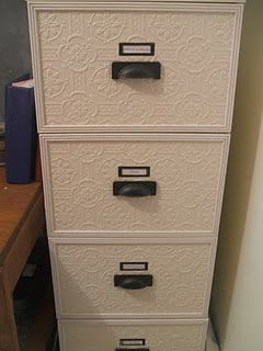 File cabinet turned pretty with wall paper