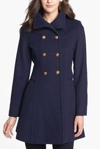 Trina Turk Double Breasted Lambswool & Cashmere Officer's Coat