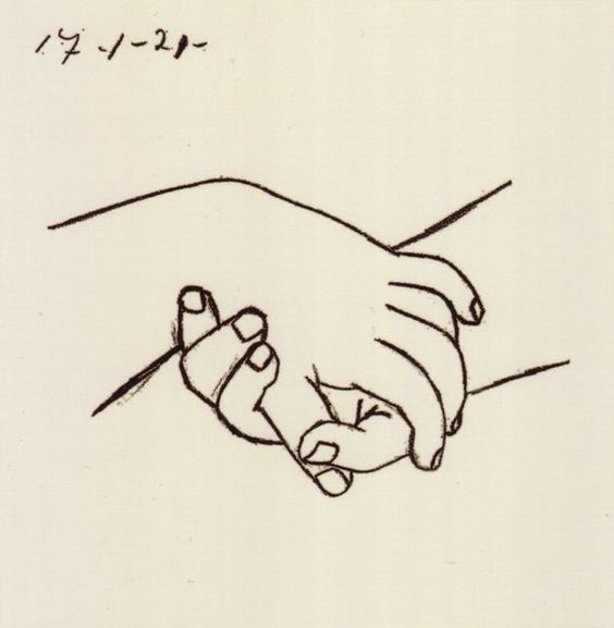 パブロピカソ「Twocrossthehands」(ハンド)ゴールドのフレーム