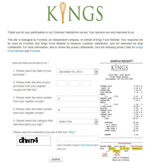 Kings Food Markets Customer Satisfaction Survey, www - sample customer satisfaction survey
