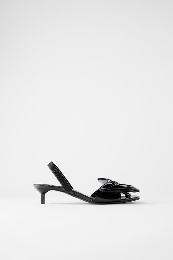 Patent Finish Kitten Heel Sandals With Bow In 2020 Kitten Heel