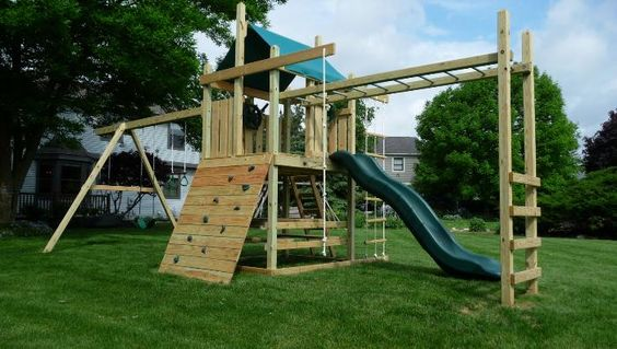 Outdoor playsets with monkey bars plans wooden swing for Wooden swing set plans