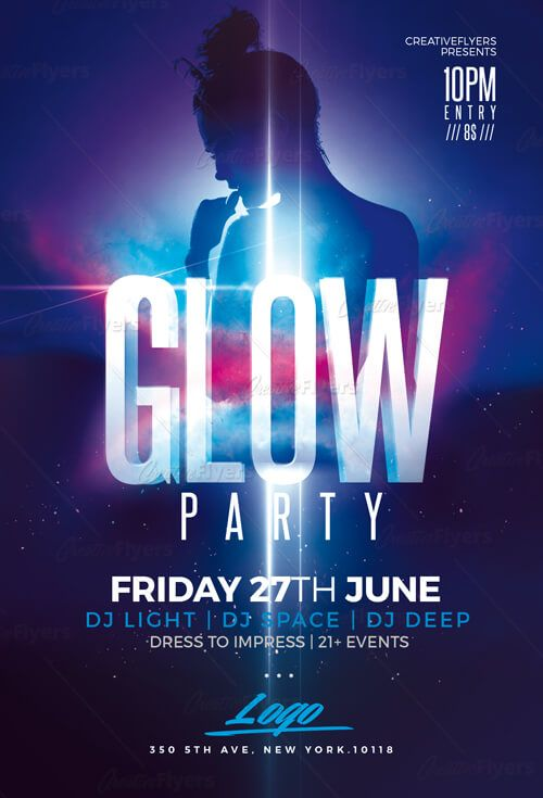 Glow Party Flyer Psd Templates Club Party Flyer Poster