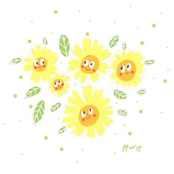 #flowers #illustration #illustrator #painting #paint #picturebook #childrenbook #cartoon #cute#sun #autumn