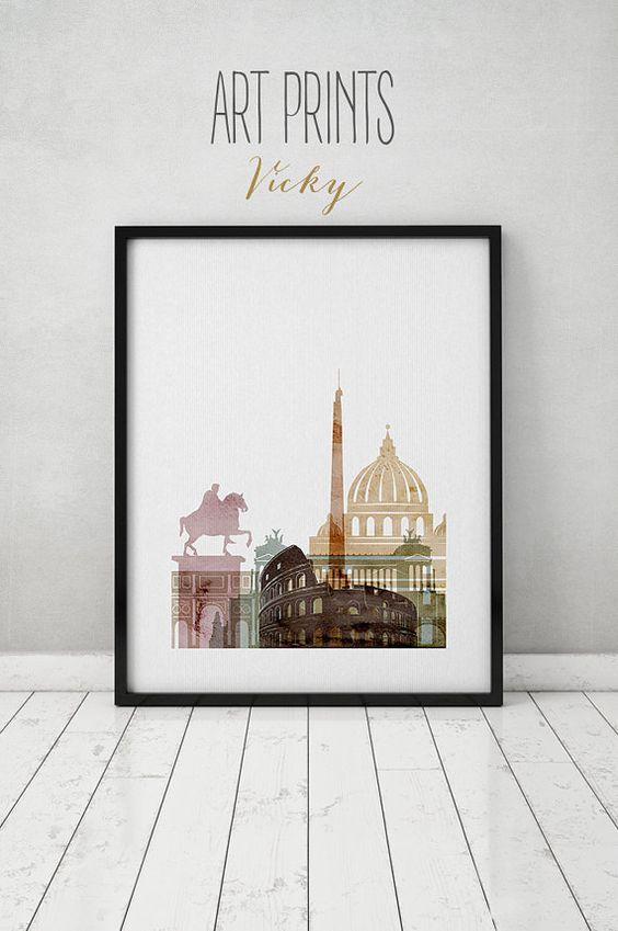 Rom Aquarell Druck, Aquarell Poster, Wandkunst, Rom Italien Skyline, Reisen digitales Aquarell, ArtPrintsVicky, Plakat, Typografie Kunst.