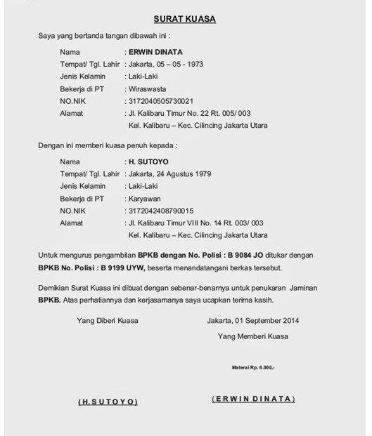 Contoh Surat Kuasa Pengambilan Stnk Atau Bpkb Motor In 2019