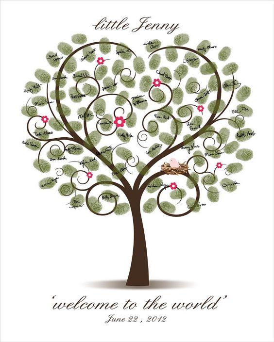 diy baby shower fingerprint tree printable by custombybernolli