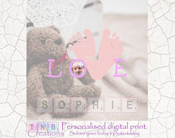 Create your own printable today! Introductory price of $15. Be quick.  Our artwork will make a perfect addition to any home or a great personalised gift for any special occasion. Use the digital file to frame, create a shadow box or print on merchandise. The possibilities are endless and use the image as many times as you like.  The above design includes personalising with your own babys photo and name. We have a separate listing for boy and girl.  Providing your image is high quality, the…