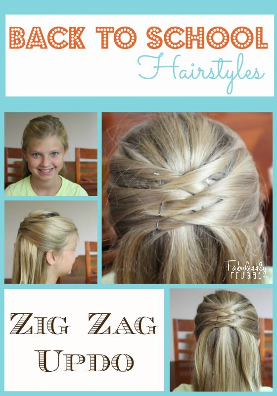Back School Hairstyles Zig Zag Updo Love