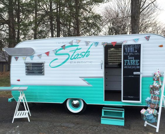 What could be be better than a precious vintage camper filled with fabric?! Trailer Stash Fabrics, a locally-based fabric boutique housed in a rebuilt '63 Shasta travel trailer is our new obsession.