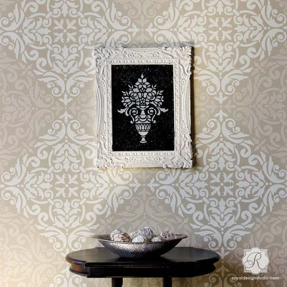 Wall Stencils Royal Design : Allover damask wall stencil for painting decorate your