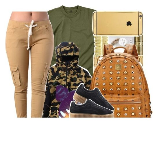 """""""Camo"""" by xbad-gyalx ❤ liked on Polyvore featuring Rothco, Ray-Ban, MCM and Puma"""