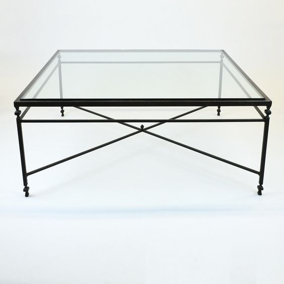 Large Square Glass Coffee Table 48 W Coffee Tables Beautiful Framed Glass Top Iron Metal Base Vintage Black