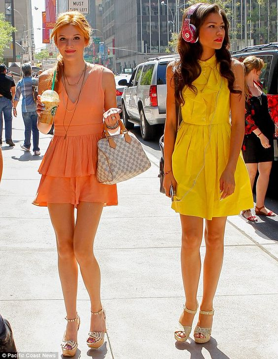Bella and Zendaya brightened up the streets of the Big Apple in their eye-catching dresses as they promoted their Disney show
