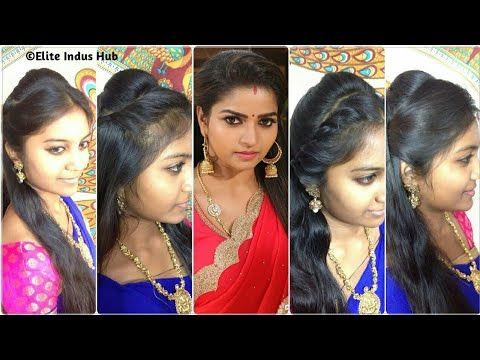 4 Open Hair Indian Party Hairstyles Nandhini Serial Ganga Hairstyles Youtube Hair Styles Indian Party Hairstyles Party Hairstyles