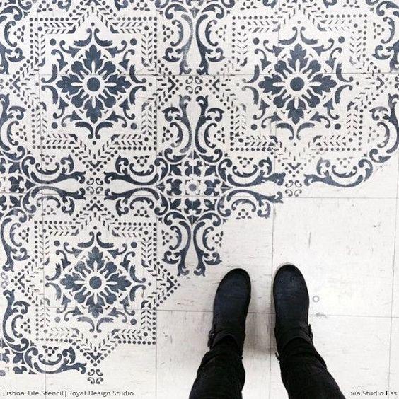 Bathroom floor geometric stencil black white google for Bathroom stencils designs