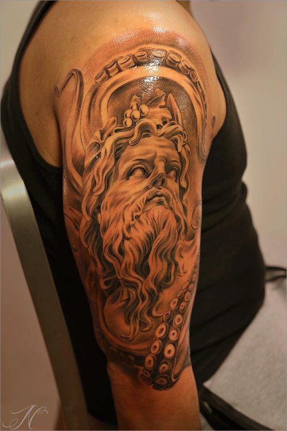 Greek themed arm tattoo by noah noah minuskin amazing for Greek sculpture tattoo