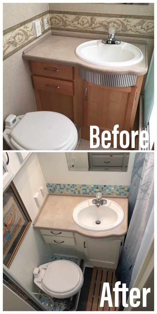 Before And After Rv Bathroom Remodel New Backsplash Paint And Floor In Our Tiny Bathroom Rv Bathroom Bathrooms Remodel Bathroom Update