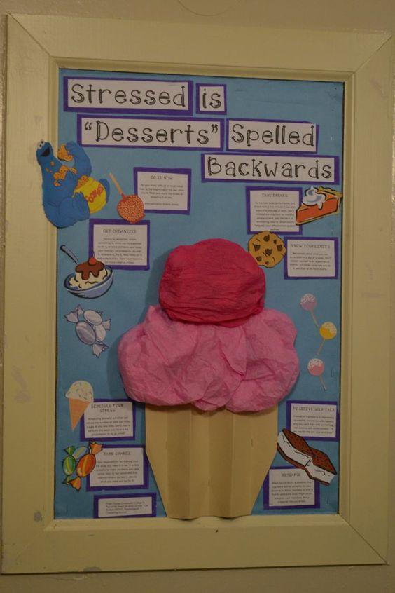 dessert bulletin board ideas | Dessert themed stress avoidance board #RA