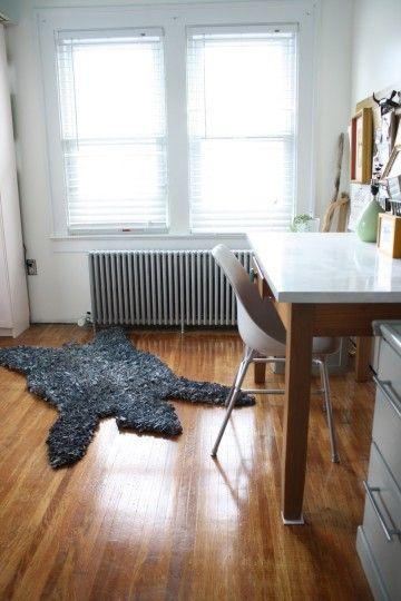 Latch hook bearskin rug.