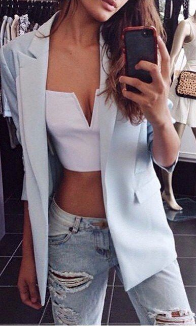 white bralette + pastel blazer and ripped jeans