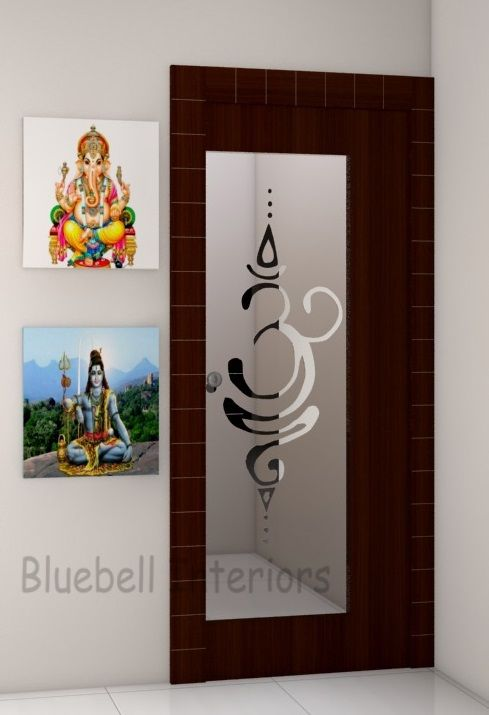 Glass Door With Wooden Frame Etched Ohm For Pooja Room Door Glass Design Room Door Design Pooja Room Door Design