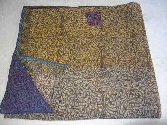 Queen Size Double Bed Vintage Throw Kantha by jaisalmerhandloom