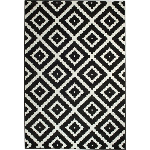 Leana Geometric Black White Area Rug Area Rugs White Area Rug