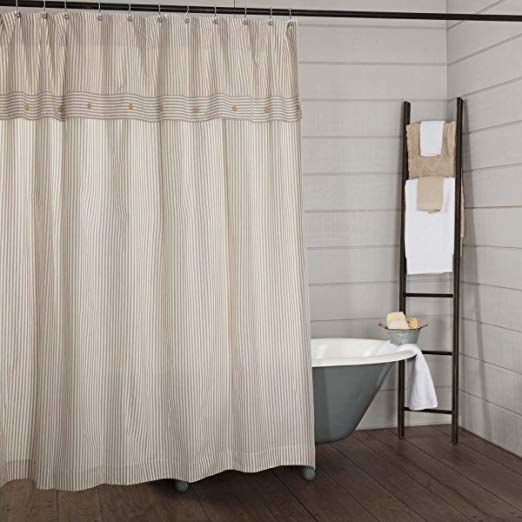Amazon Com Piper Classics Farmhouse Ticking Stripe Shower Curtain 72x72 Farmhouse Shower Curtain Striped