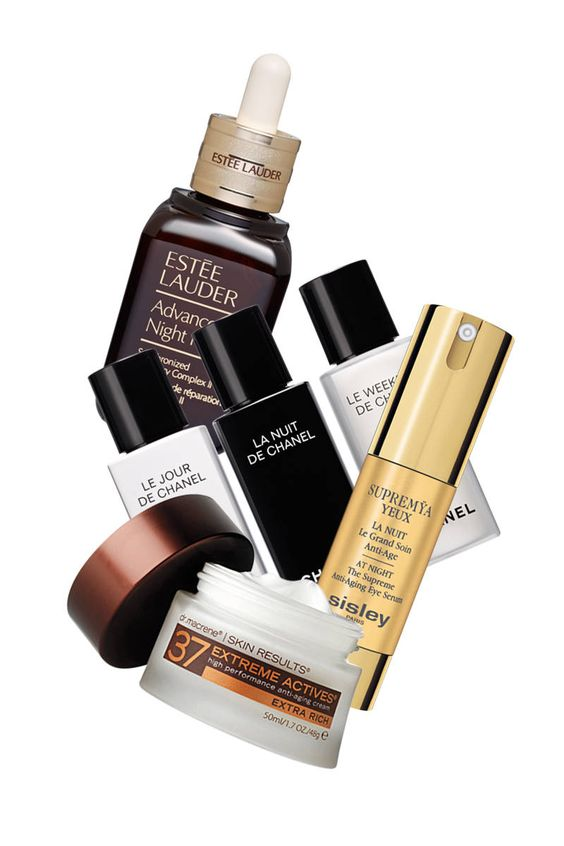 """The revamped Estée Lauder Advanced Night Repair treats skin while you sleep. .""""   Chanel Le Jour, La Nuit, and Le Weekend """"give your skin what it needs when it needs it the most,"""" says ELLE Singapore's Vanessa Chia. """"Just mix a drop into any other cosmetics that you use,"""" recommends ELLE Poland's Marta Rudowicz.    Skin Results 37 Extreme Actives encapsulates and combines 50 anti-aging ingredients in a single cream.   Sisley Supremÿa Yeux La Nuit serum"""
