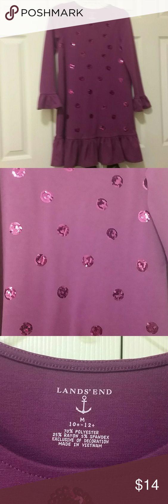Lands end raspberry sparkle dress Long sleeve ruffle bottom ruffle wrist sequins sparkle dress Lands' End Dresses Formal