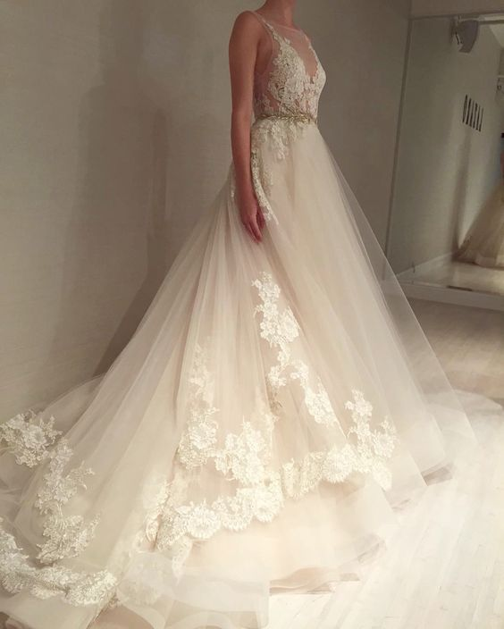 Wedding gown by lazaro style 3607 my wedding for Lazaro lace wedding dress