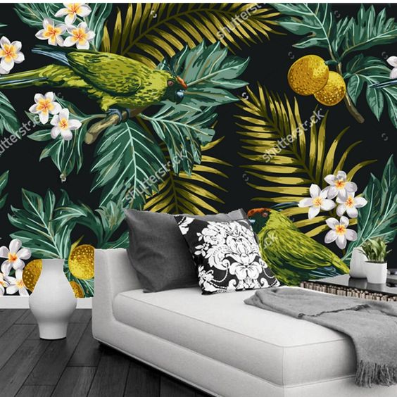 Cheap Papel tapiz de flores, hojas Tropicales, flores y el loro, foto 3D papel…