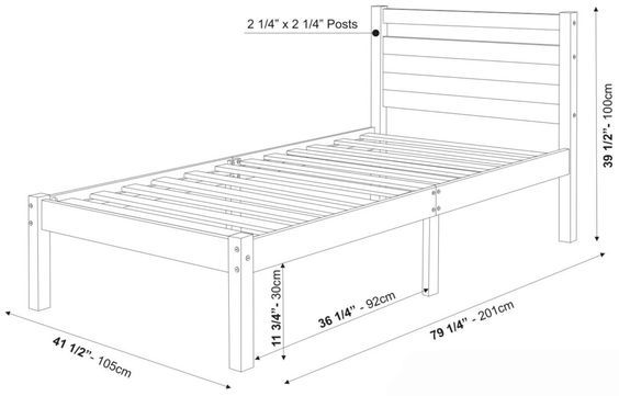 Measurements Of Twin Bed Frame Twin Bed Frame Twin Mattress