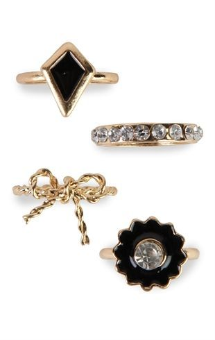 Deb Shops Midi Ring Set with Stone Designs $6.00: Midi Rings, Debshops, Style