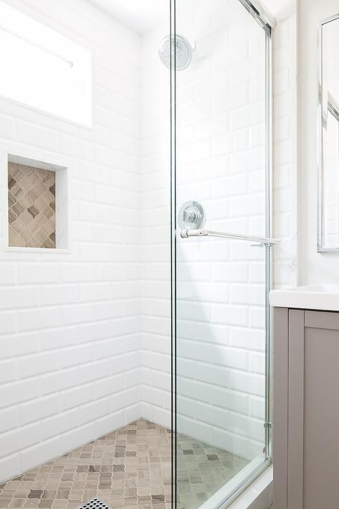 Various Materials Create The Showers Sophisticated Look Such As Large Beveled White Subway T Brown Tile Bathroom White Subway Tile Shower Accent Tile Bathroom