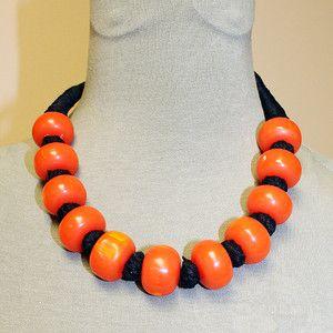 Vintage Artisan Black Threaded Orange Bakelite / Thermoset Bead Necklace | eBay