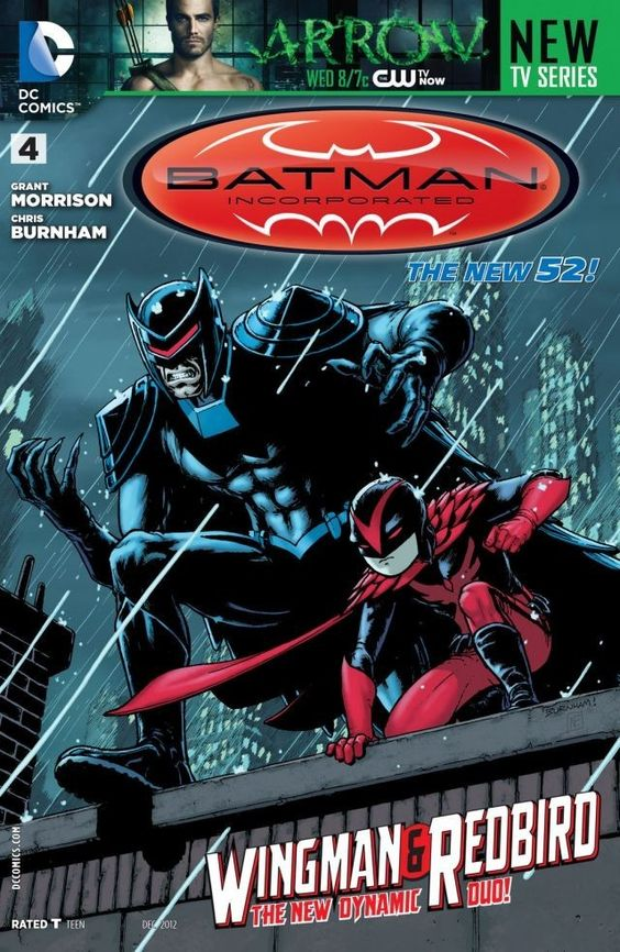 Batman Incorporated (2012-) #4 Batman and Talia al Ghul continue to fight for control of their son Damian--better known as Robin. And Wingman and Redbird descend upon Gotham City! Who are these heroes, and what is their relationship to the Dark Knight?