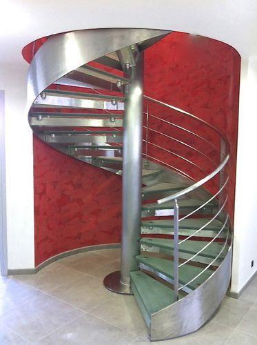 Escada em caracol / estrutura em aço inoxidável / degraus de vidro / degraus sem espelho HURRICANE INOX BROSSÉ ET VERRE…