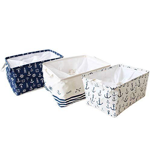 Orino Waterproof Nursery Nautical Fabric Large Storage Baskets