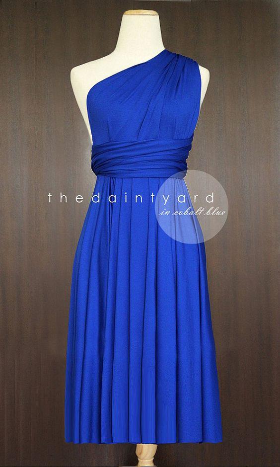 Court-Hem rectiligne bleu Cobalt Infinity Dress Multiway Robe demoiselle d