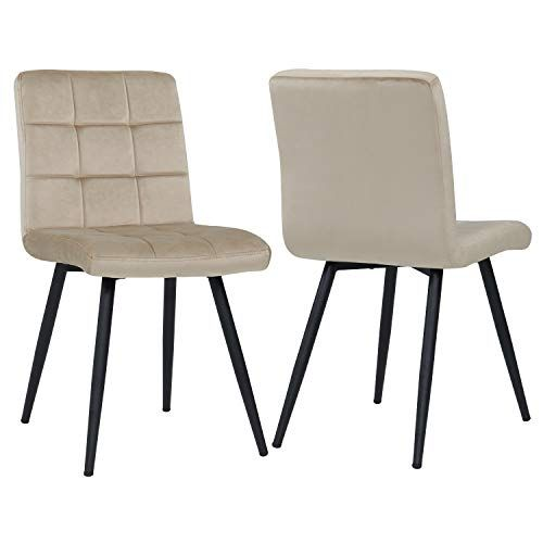 Dining Room Accent Leisure Dining Chair Set Of 2 Metal Legs Velvet