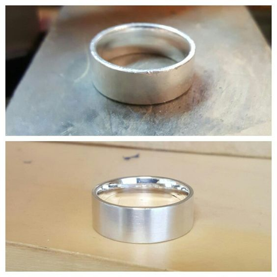 Refinished sterling silver band. From rough to a smooth matte finish