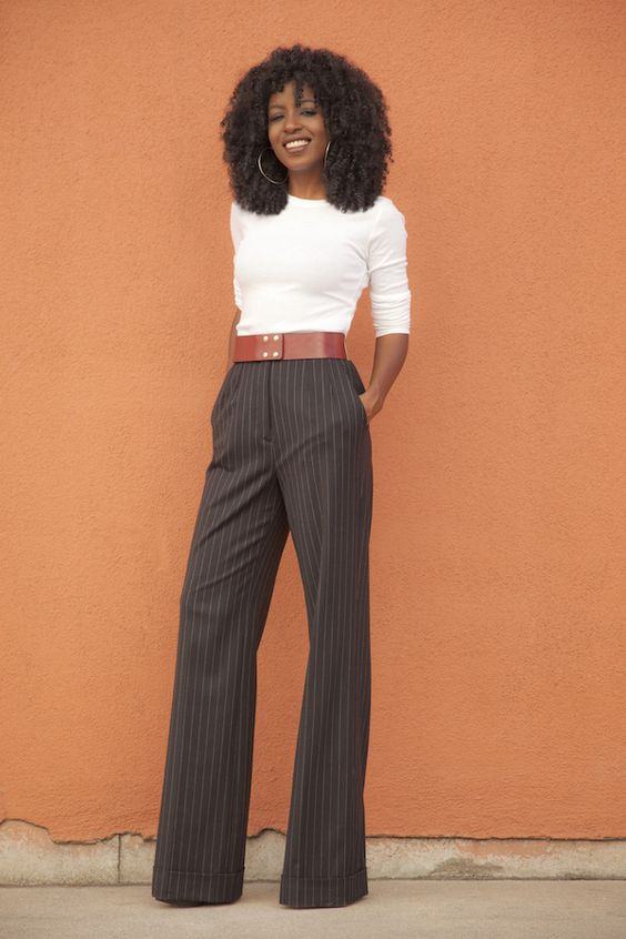 Long Sleeve Tee + Pinstriped Highwaist Wideleg Trousers: