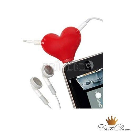 Divisor de fone de ouvido personalizado, em formato de coração.. www.brindice.com.br/brindes/acessorio-para-celular