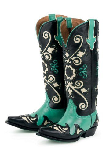 Amazon.com: Lane Boots Margaret Black / Turquoise Leather Fashion Cowgirl Boots: Shoes