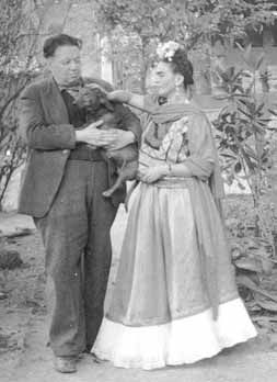 Diego Rivera, Frida Kahlo, and dachshund