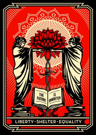 "Shepard Fairey's The Future Is Unwritten, 2011, is the first in the ""Artist as Activist"" print project launched by the Rauschenberg Foundation. The work was printed in Rauschenberg's former studio in Captiva and its sales benefit the Coalition for the Homeless."